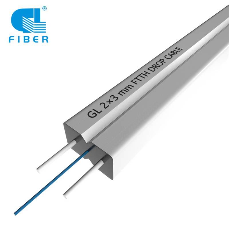 Indoor Fiber Optic FTTH Drop Cable GJXH G657A1 2core LSZH White